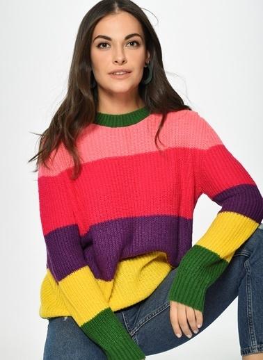 Loves You Renk Bloklu Çok Renkli Triko Kazak Renkli